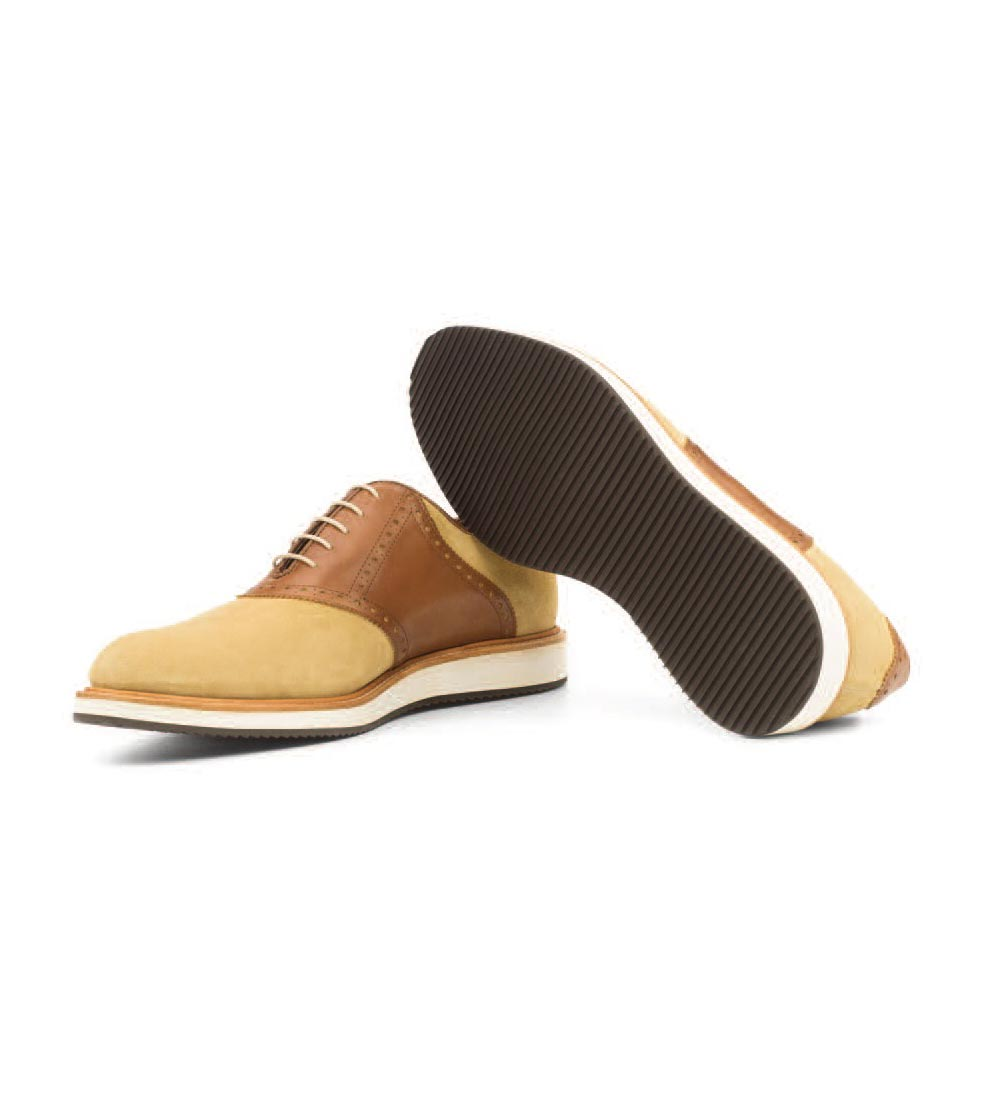 Cream Nubuck and Tan Leather - Sport Saddle
