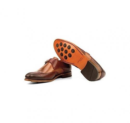 Brown/Tan <br>Leather - Single Monk Wingtip
