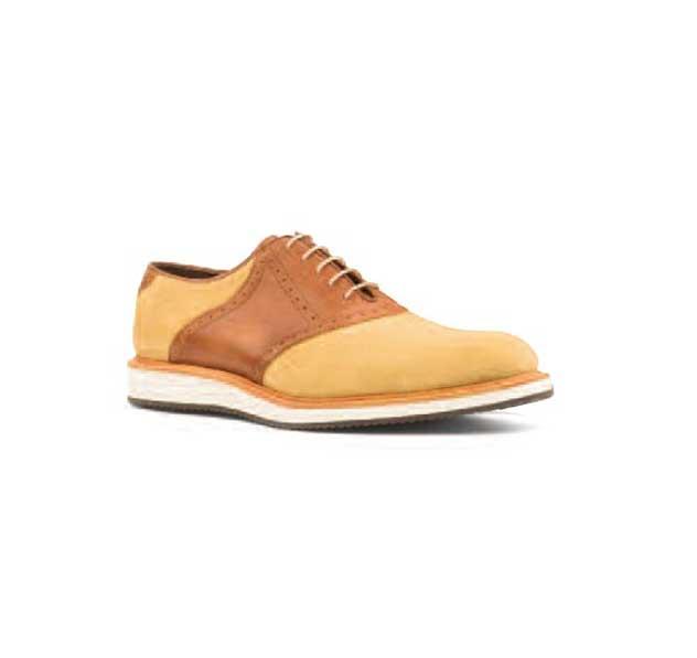 Cream Nubuck & Tan Leather - Sport Saddle