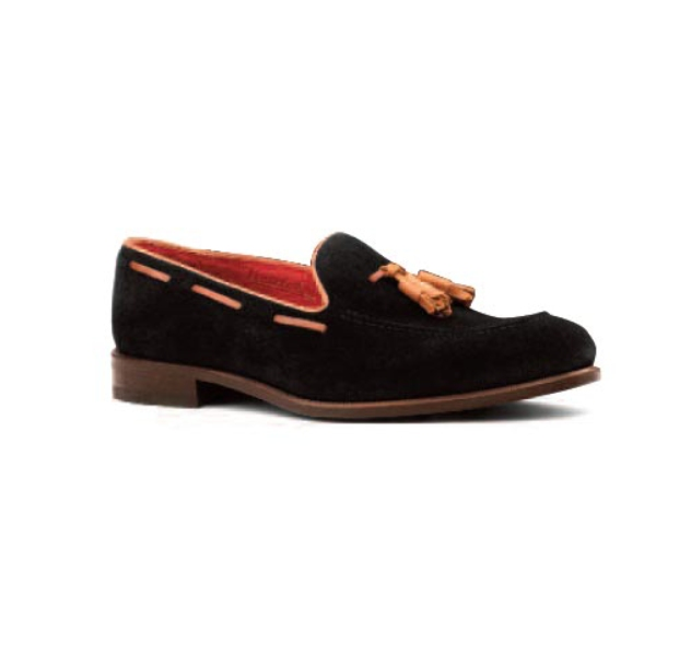 Black Suede with Tan Trim - Tassel Loafer