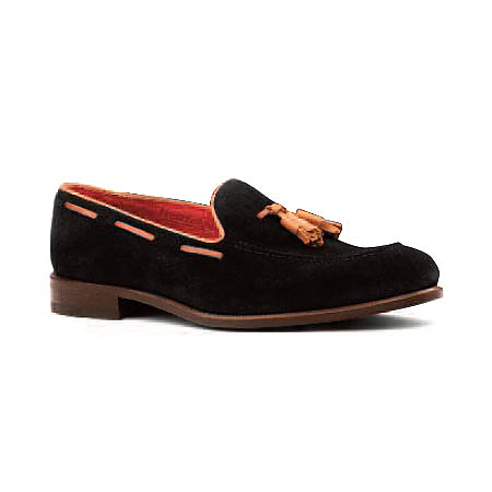 Black Suede with Tan Trim - Tassel Loafer
