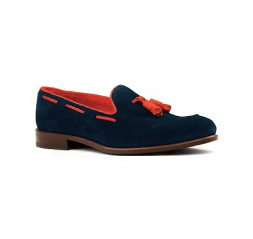 Navy <br>Suede with <br>Red Trim