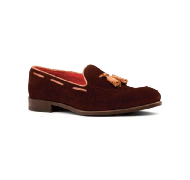Brown Suede with Tan Trim - Tassel Loafer