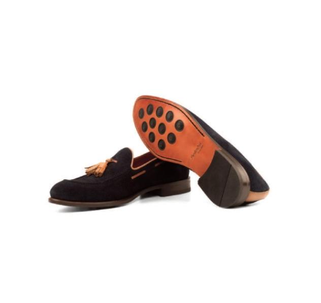 Black <br>Suede with <br>Tan Trim - Tassel Loafer