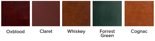 many different leather colour swatches